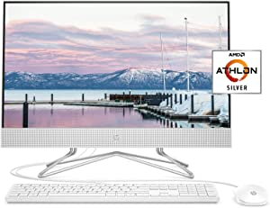 HP 24-inch All-in-One Desktop Computer, AMD Athlon Silver 3050U Processor, 8 GB RAM, 256 GB SSD, Windows 10 Home (24-dd0010, White)