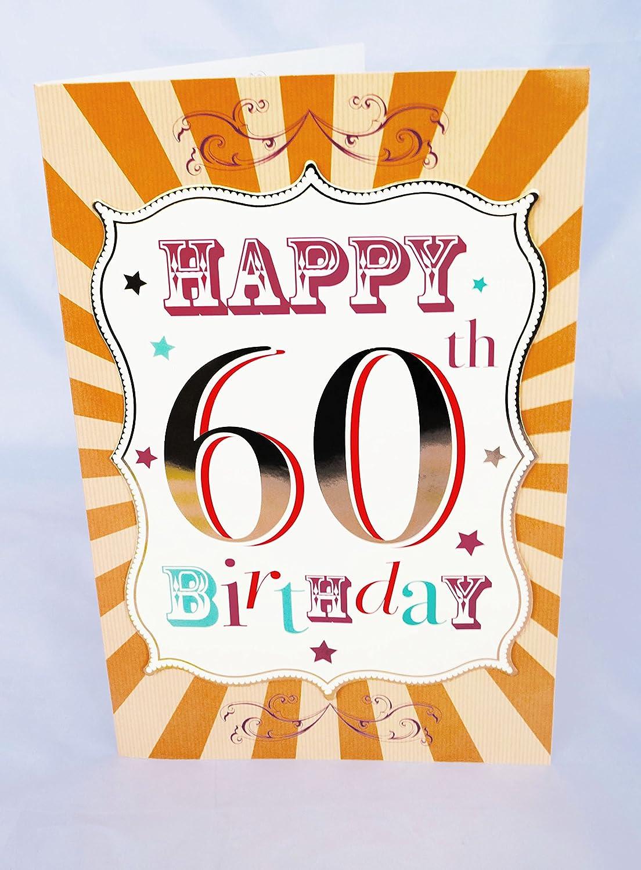 Jumbo Happy 60th tarjeta de cumpleaños palabras sofisticado ...