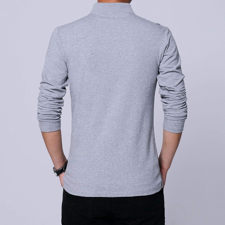 Abetteric Mens Cotton Zip Slim Fit Pure Colour Tees Long Sleeve Polo Shirt