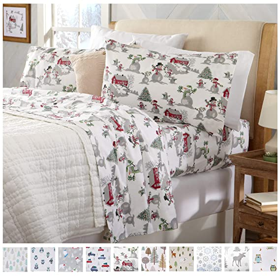 Home Fashion Designs Flannel Sheets Queen Winter Bed Sheets Flannel Sheet Set Winter Wonderland Flannel Sheets 100% Turkish Cotton Flannel Sheet Set. Stratton Collection (Queen, Winter Wonderland) best queen-sized flannel sheet sets