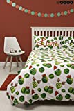 Hive Easy on the Sprouts Christmas Single Duvet Cover & Matching Pillow Case | Reversible Sprout Festive Xmas Bedding Quilt Design (Single)