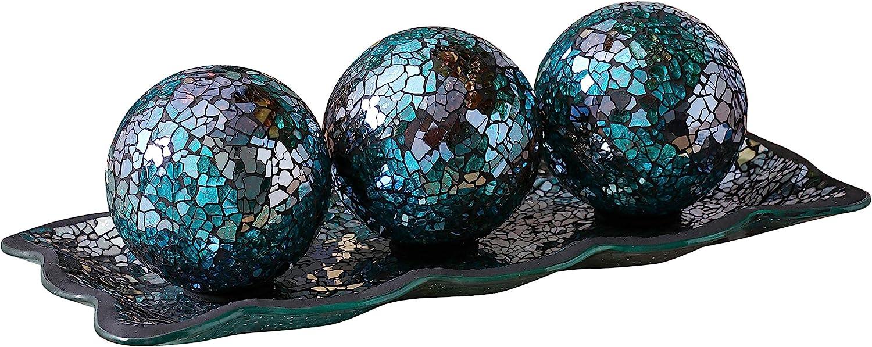 "KMwares 12.4"" Mosaic Glass Decorative Tray Dish Plate with 3pcs 3"