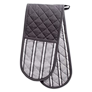 "DII Cotton Stripe Quilted Double Oven Mitt, 35 x 7.5"", Machine Washable and Heat Resistant Kitchen Moppine for Everyday Cooking and Baking-Mineral Gray"