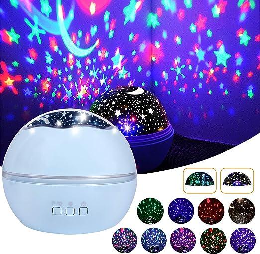 Lámpara Proyector de Estrellas, 360°Rotación Romántica Luz ...