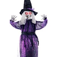 """Halloween Haunters 6 Foot 72"""" Life Size Hanging Talking Wicked Witch Prop Decoration - Black and Purple Dress and Hat, Animated Speaks Witches Cackles, Flashing Red LED Eyes"""