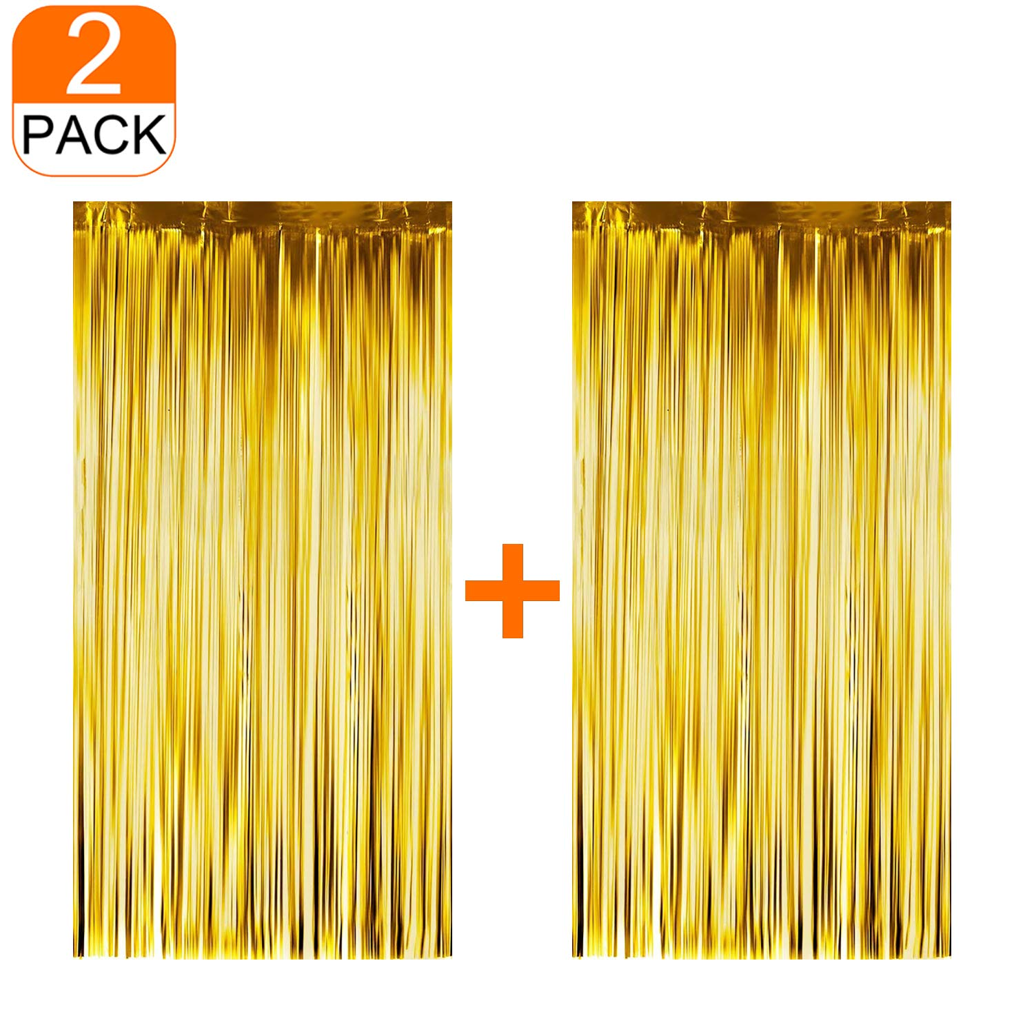 2 Pcs Backdrop Curtain/Gold Tinsel Foil Fringe Curtains (3ft x 6.5ft) for Party Photo Backdrop,for Wedding/Birthday/Decor