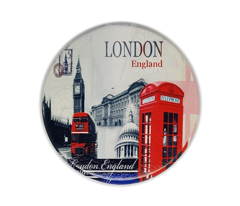 Classic London Souvenir Pocket Mirror Collectible British Souvenir ! Speicher / Memoria! Distressed ! A Memorable London, England Souvenir! Miroir / Spiegel / Specchio / Espejo! Union Jack London Eye Tower Bridge Big Ben London Bus Telephone Postbox etc B