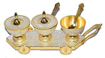 Plata y latón bañado en oro Trolly cuencos con bandeja.. Moderno y tradicional Decoración