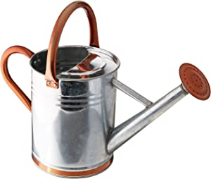 Gardman 8326 Galvanized Steel Watering Can with Copper Accents, 1-Gallon