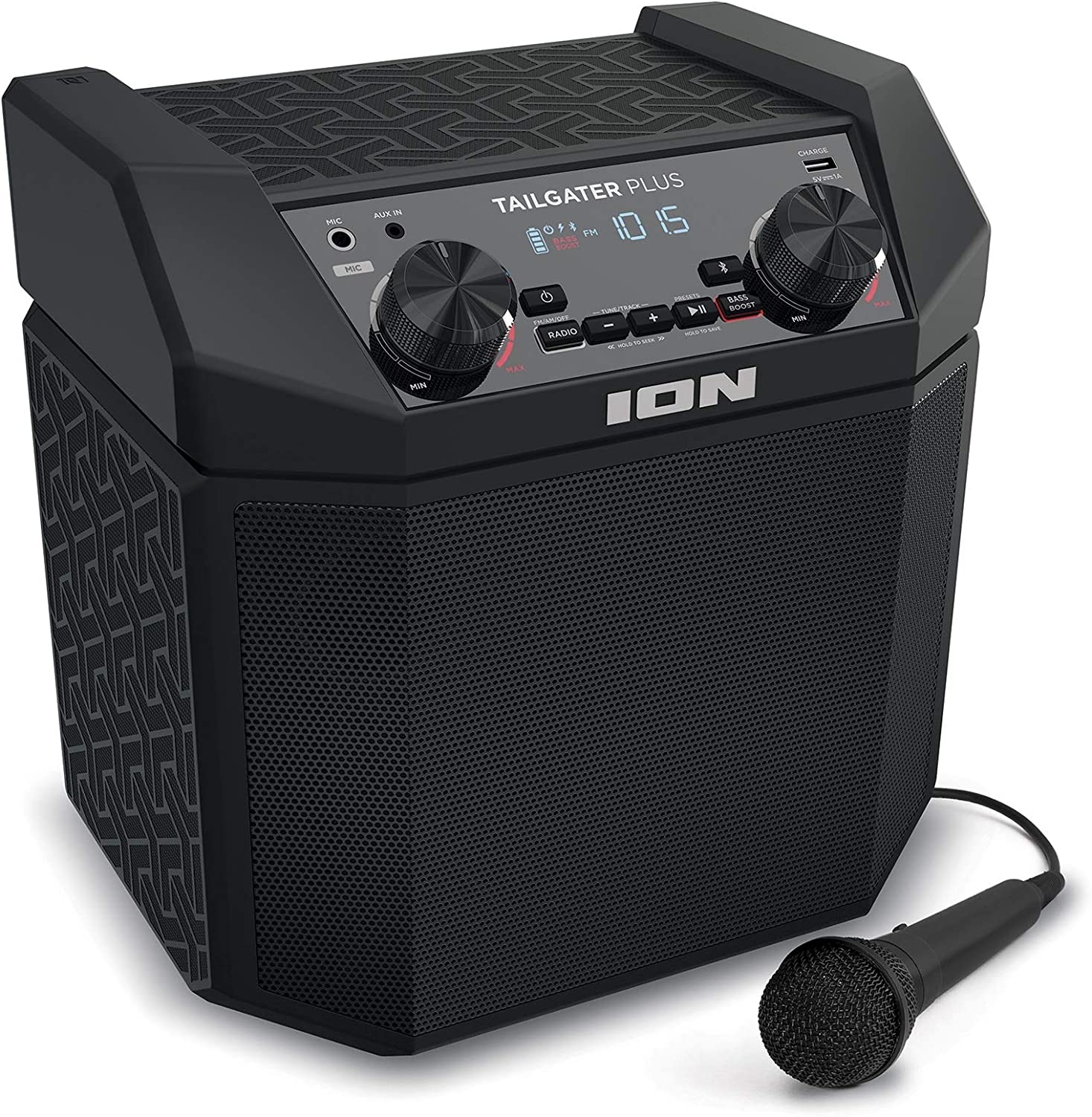 ION Audio Tailgater Plus - 8W Portable Outdoor Wireless Bluetooth Speaker  with 8 Hour Battery, Microphone, Radio and USB Charging