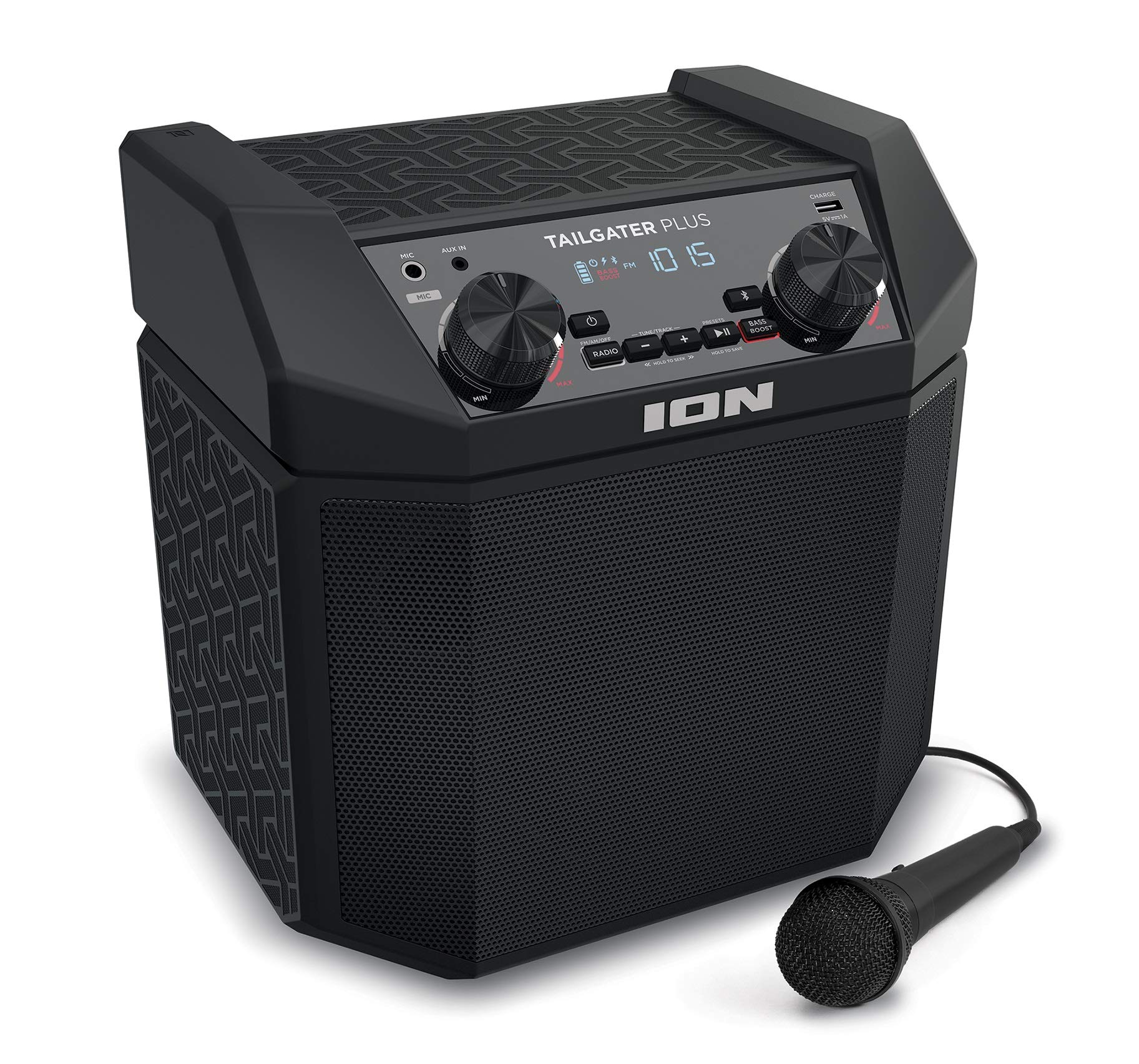 ION Audio Tailgater Plus | 50W Portable Speaker, Battery Powered with Bluetooth, Microphone & Cable, AM/FM Radio, Built-in Carry Handle and USB Charging For Smartphones & Tablets by ION Audio