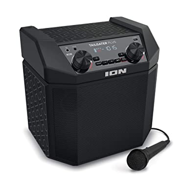 ION Audio Tailgater Plus | Bluetooth Speaker, Portable, 50W Battery Powered with Microphone & Cable, AM FM Radio, Built-in Carry Handle and USB Charging For Smartphones & Tablets