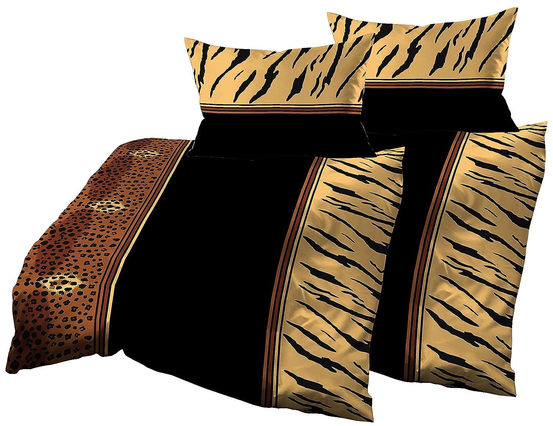 Gerald Wittmann 4 TLG. Baumwolle Satin Bettwäsche, Leoparden Schwarz Braun Gelb, 140x200 cm + 70x90 cm