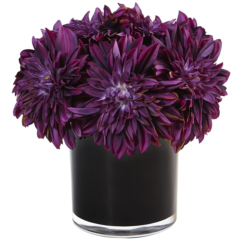 Nearly Natural Dahlia Mum Silk Arrangement in Vase Purple