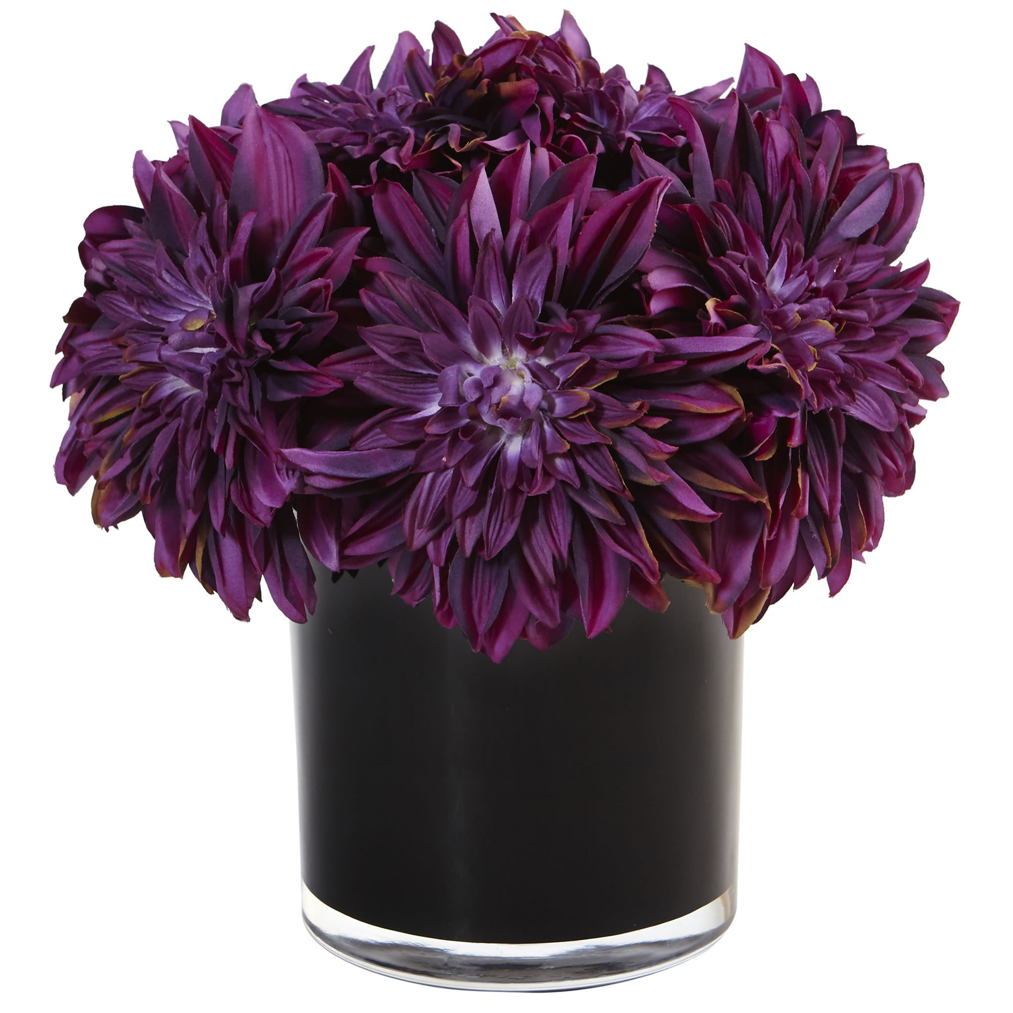 Nearly Natural Dahlia Mum Silk Arrangement in Vase, Purple by Nearly Natural (Image #1)