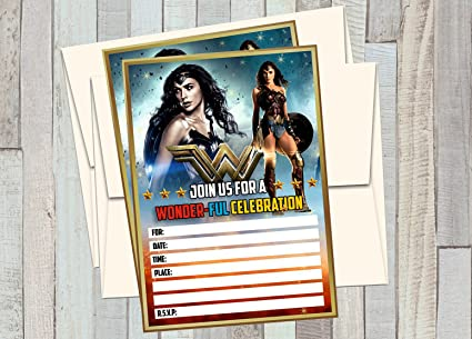amazon com 12 wonder woman the movie birthday invitations 12