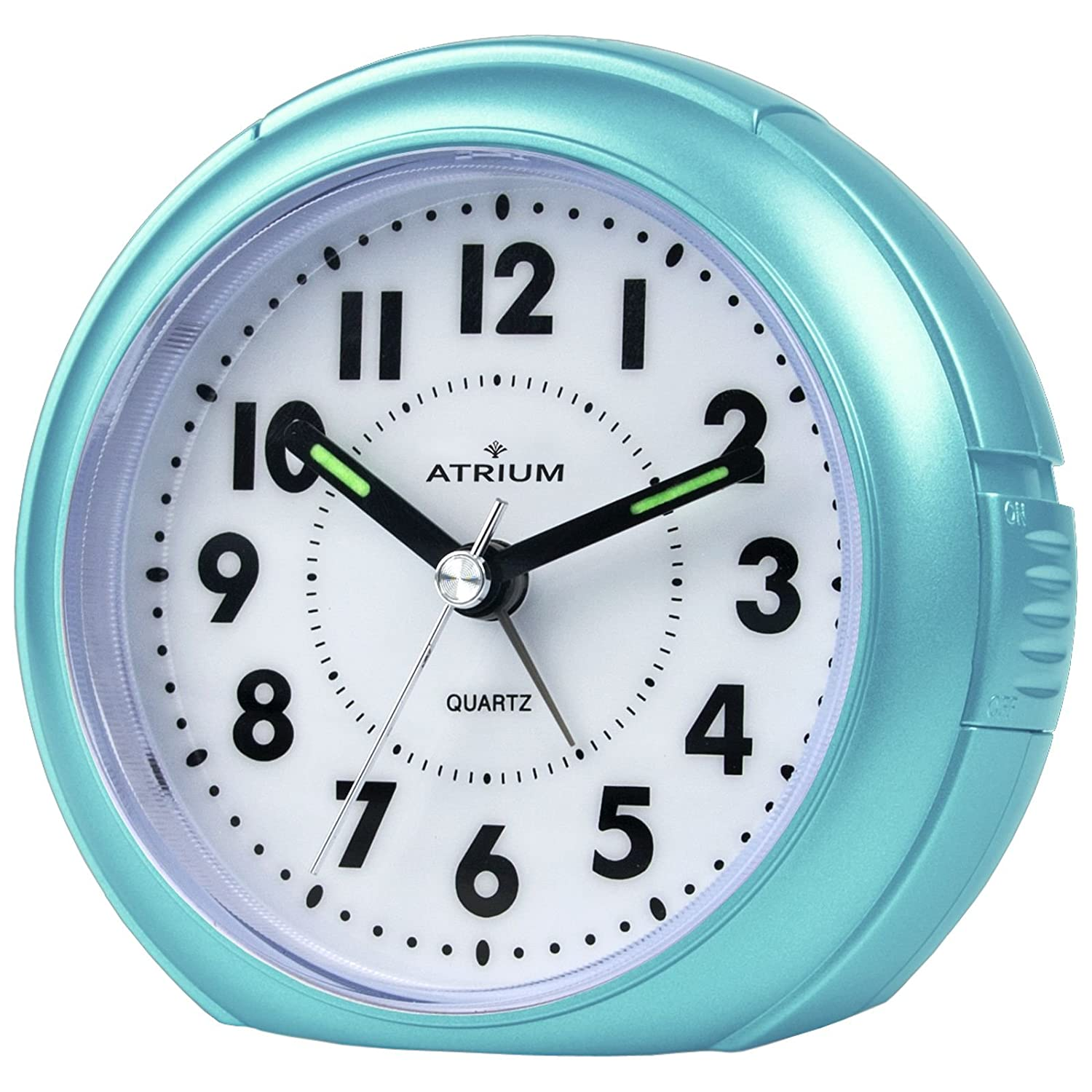 ATRIUM Alarm clock analogue light blue without ticking with light and Snooze A240-15