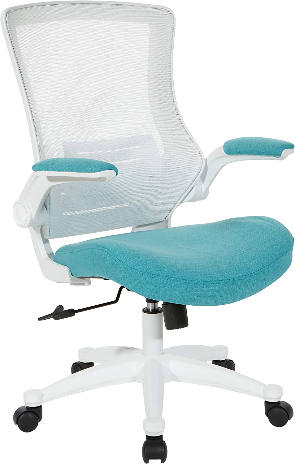 Office Star White Screen Back Manager's Chair, Linen Turquoise