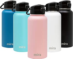 MIRA 32 oz Stainless Steel Water Bottle - Hydro Vacuum Insulated Metal Thermos Flask Keeps Cold for 24 Hours, Hot for 12 Hours - BPA-Free One Touch Spout Lid Cap - Rose Pink