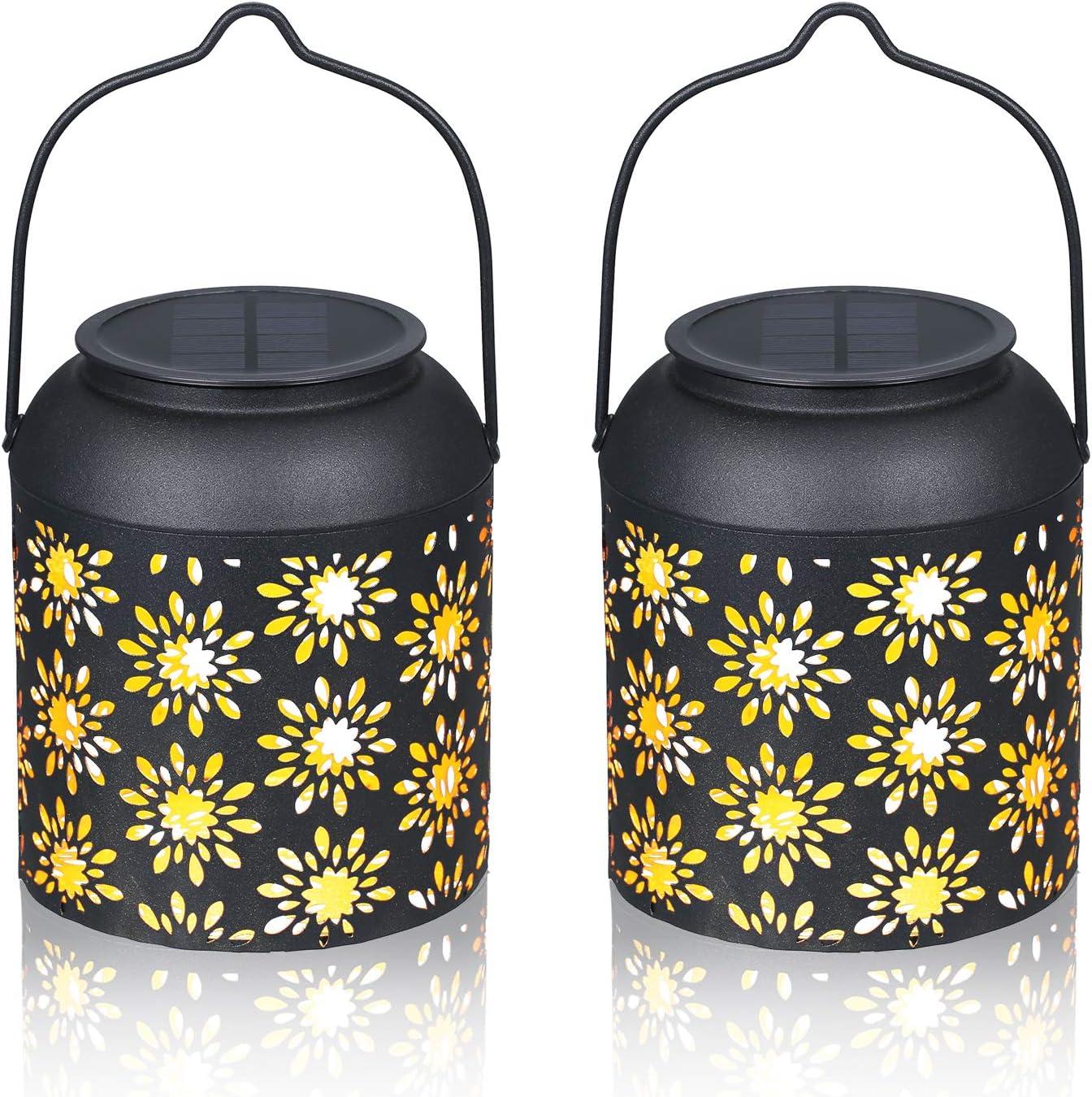 2 Pack Hanging Solar Lanterns, Tomshine Outdoor Lantern Warm White Waterproof Metal Patio Decor for Garden Landscape Yard Decoration (Flower Pattern)