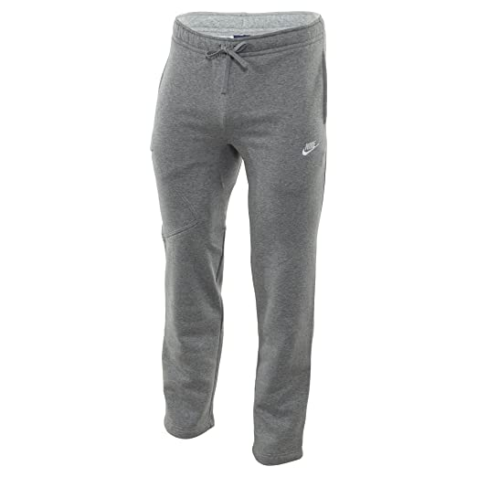 e890aa365894 Nike Mens Open Hem Fleece Pocket Sweatpants Light Grey White 823513-063  Size Small