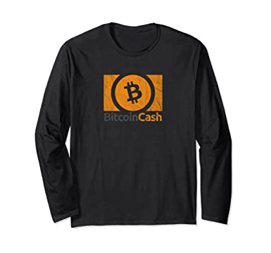 Unisex Bitcoin Cash BCH BCC Logo Vintage Long Sleeve Shirt Small Black
