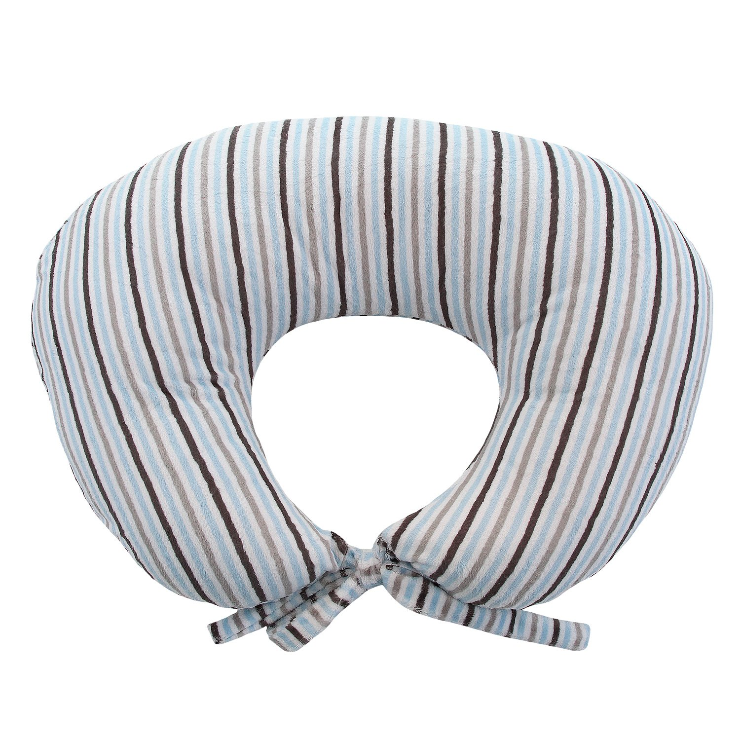 My Blankee Nursing Pillow with Mini Stripe Minky Slipcover, Blue/Silver, Large/X-Large