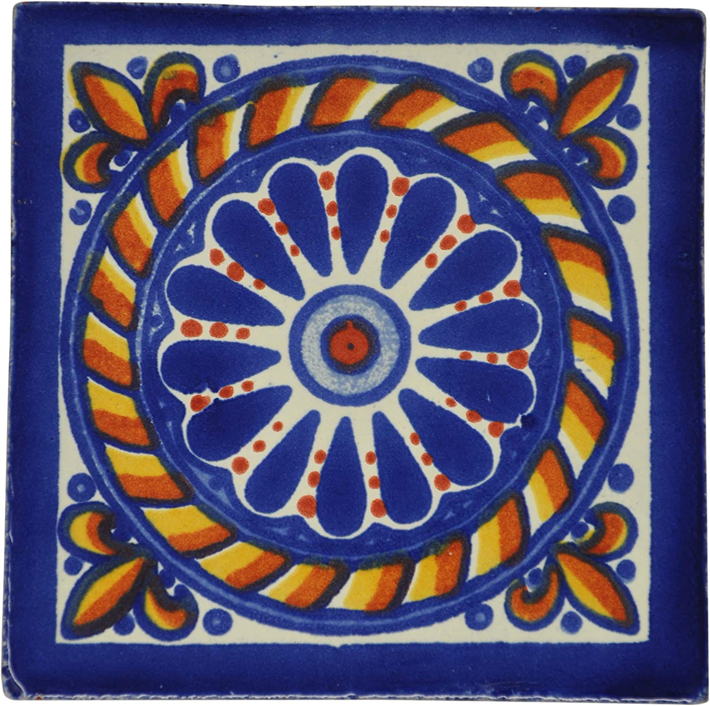 Carrelage en c/éramique mexicaine Lot de 10 10,5 cm fait /à la main et /éthiquement n/égoci/é par Tumia LAC