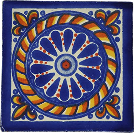 fait /à la main et /éthiquement n/égoci/é par Tumia LAC Carrelage en c/éramique mexicaine Lot de 10 10,5 cm