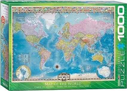 EuroGraphics Map of The World 1000pcs Puzzle - Rompecabezas (Puzzle Rompecabezas, Mapas, Niños y Adultos, Niño/niña, Interior, Caja): Amazon.es: Juguetes y juegos