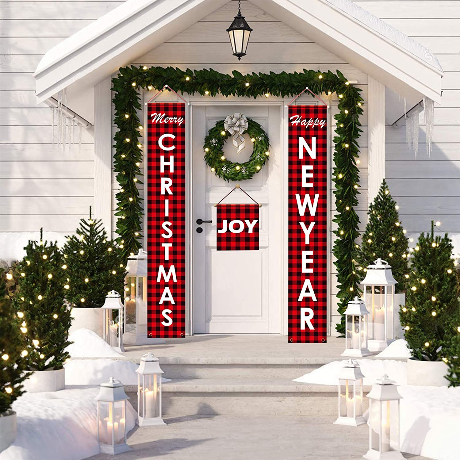 Tarklanda Christmas Porch Sign,Xmas Hanging Banners Porch Signs Decoration Door Porch Flag Banner for Front Door or Indoor Home Decor