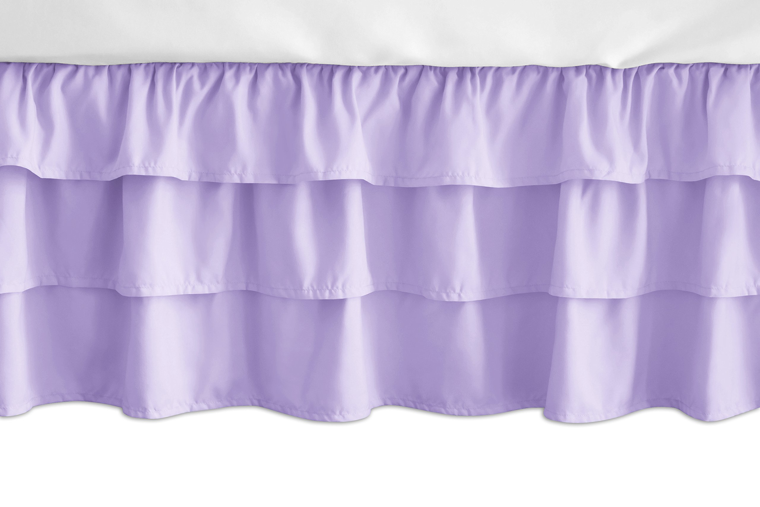 Sweet Jojo Designs Solid Lavender Girl Ruffled Tiered Baby Crib Bed Skirt Dust Ruffle for Pink and Purple Butterfly Collection by Sweet Jojo Designs