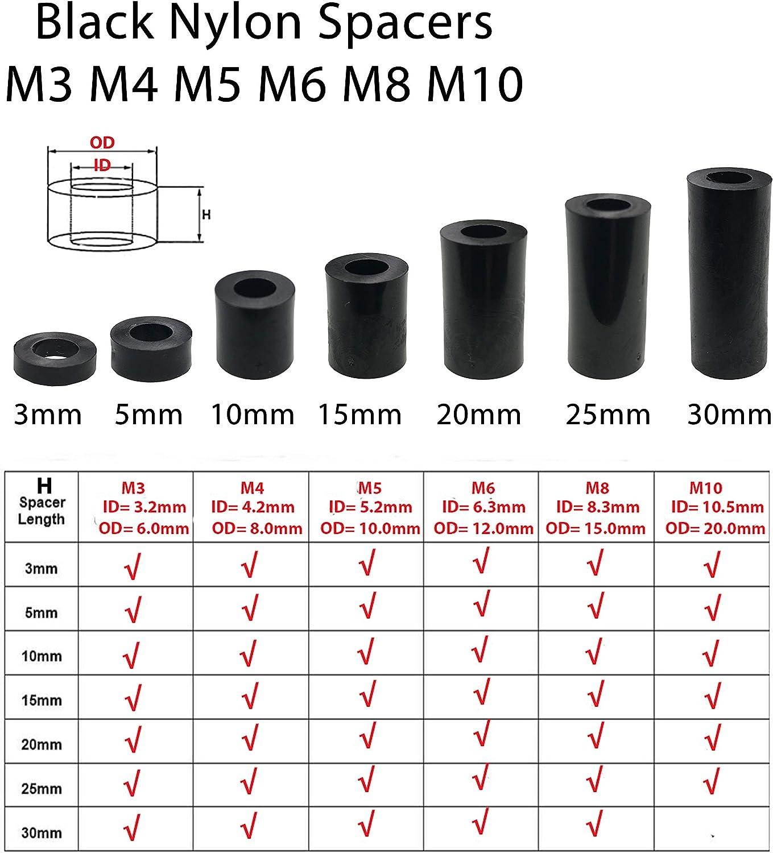 Lot de 12 entretoises rondes en nylon noir noir
