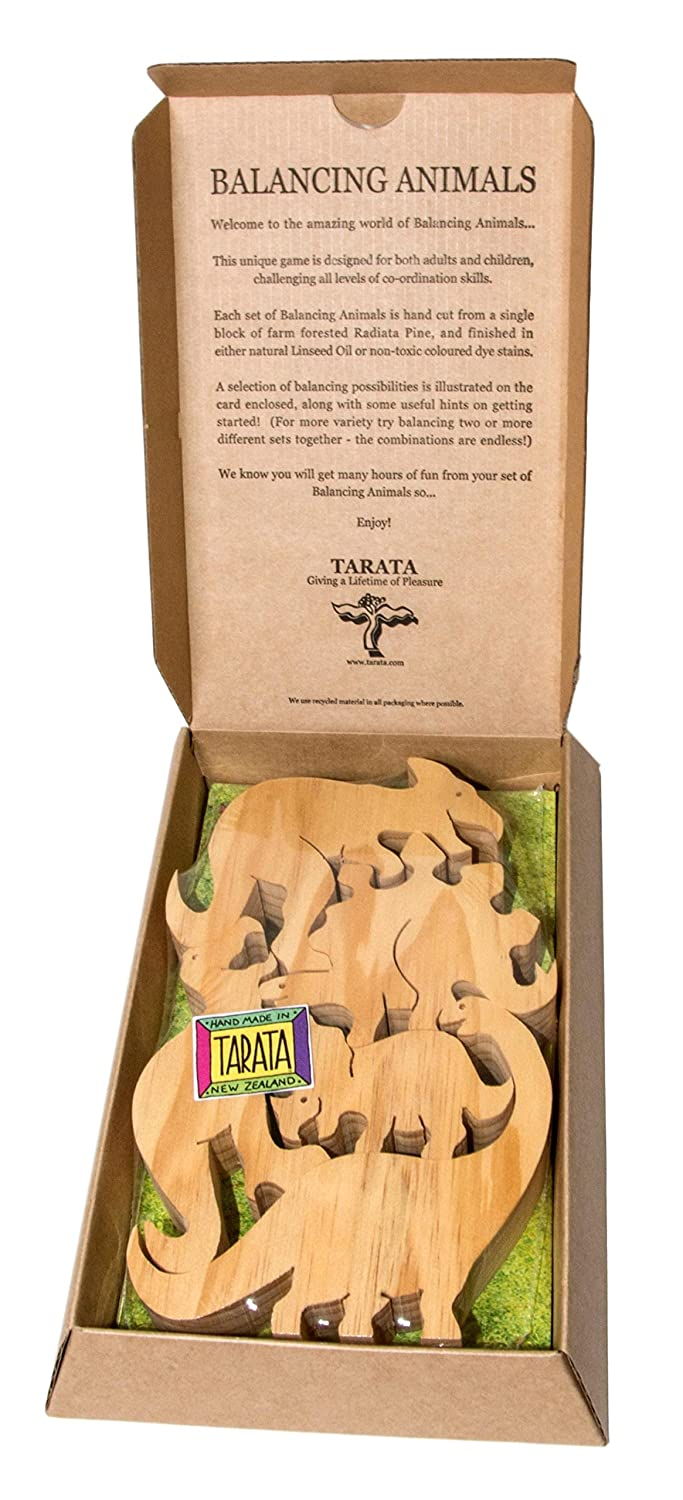 TARATA Balancing Animals Dinosaurs. In Gift Box. Made From NZ Farm Forested Radiata Pine Natural Wood