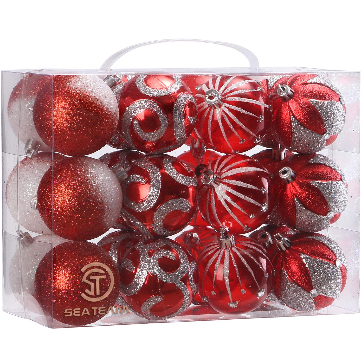 24-Pack Sea Team 2.36//60mm Decorative Shatterproof Painting /& Glitering Designs Christmas Ornaments Christmas Balls Set with Embossed Finish Surface Red