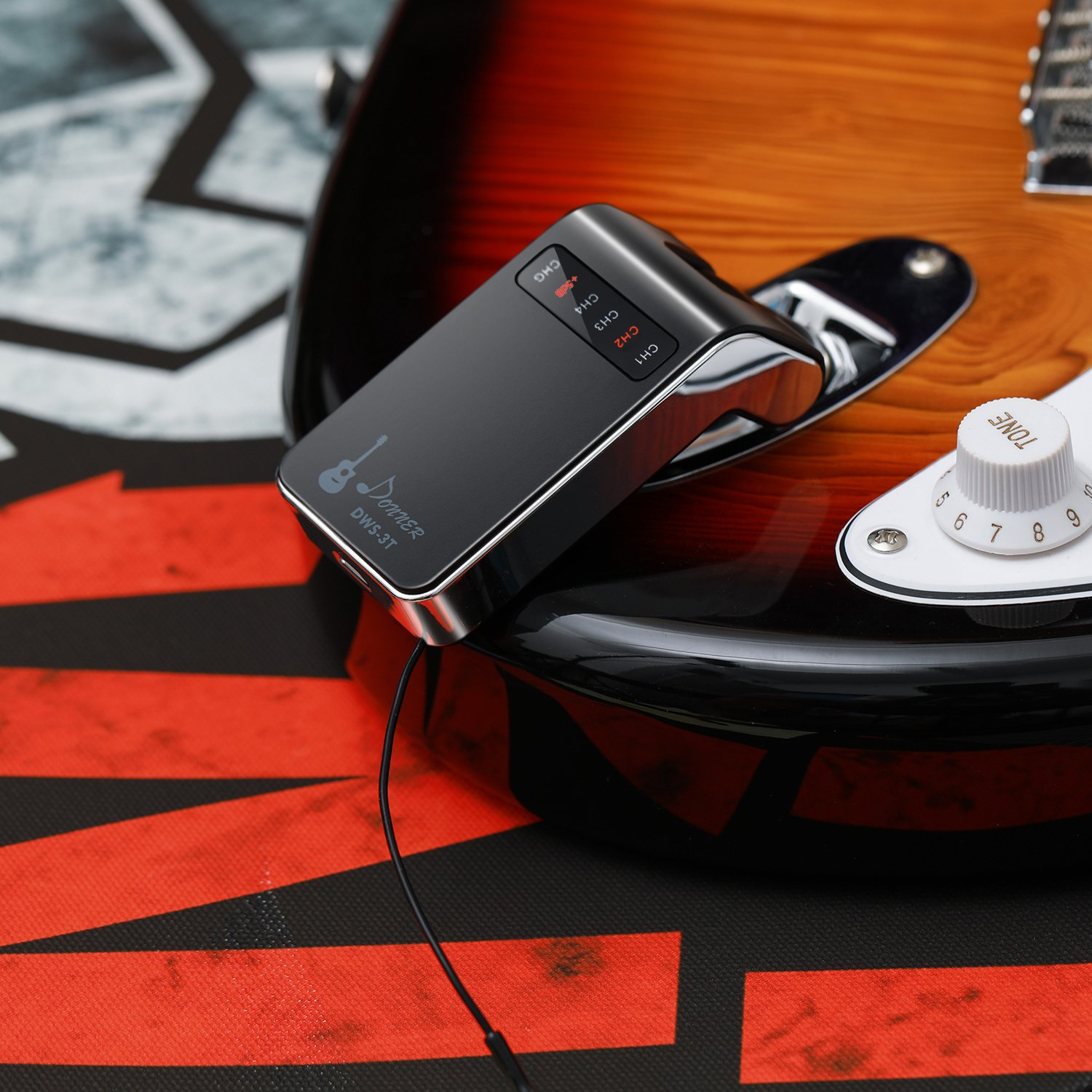 Donner New Version Rechargeable Wireless System DWS-3 Digital Guitar Bass Audio Transmitter and Receiver