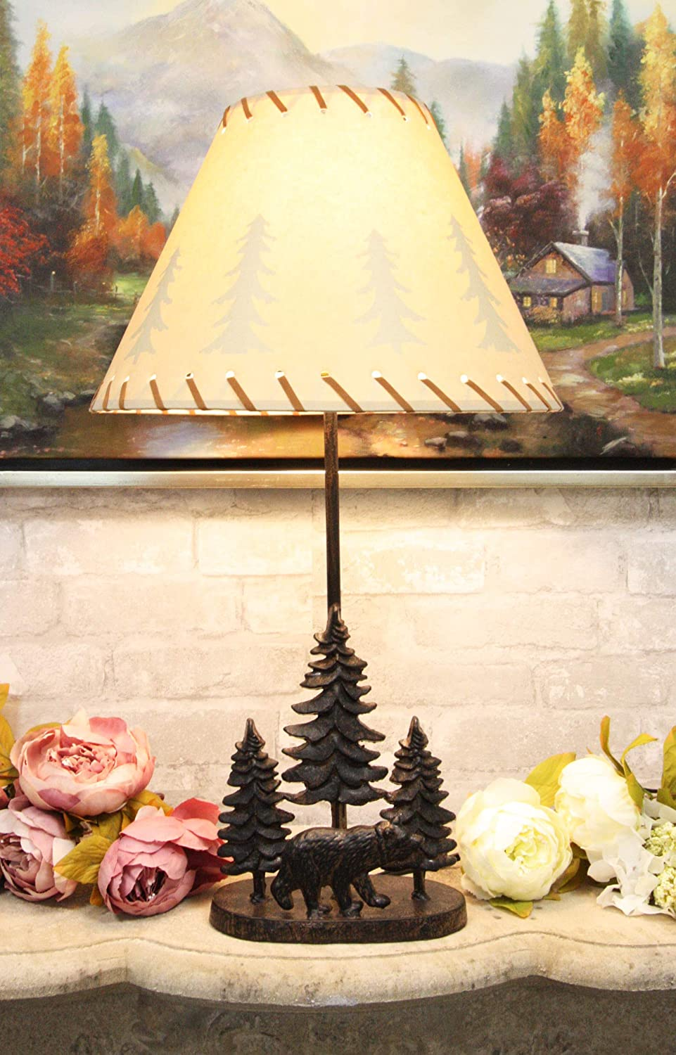 """Ebros Rustic Midnight Black Bear Roaming in Pine Trees Forest Metal Table Lamp Statue with Pine Tree Shadows Printed Shade 24.5""""High Mountain Woodland Cabin Lodge Western Decor Bears Desktop Lamps"""