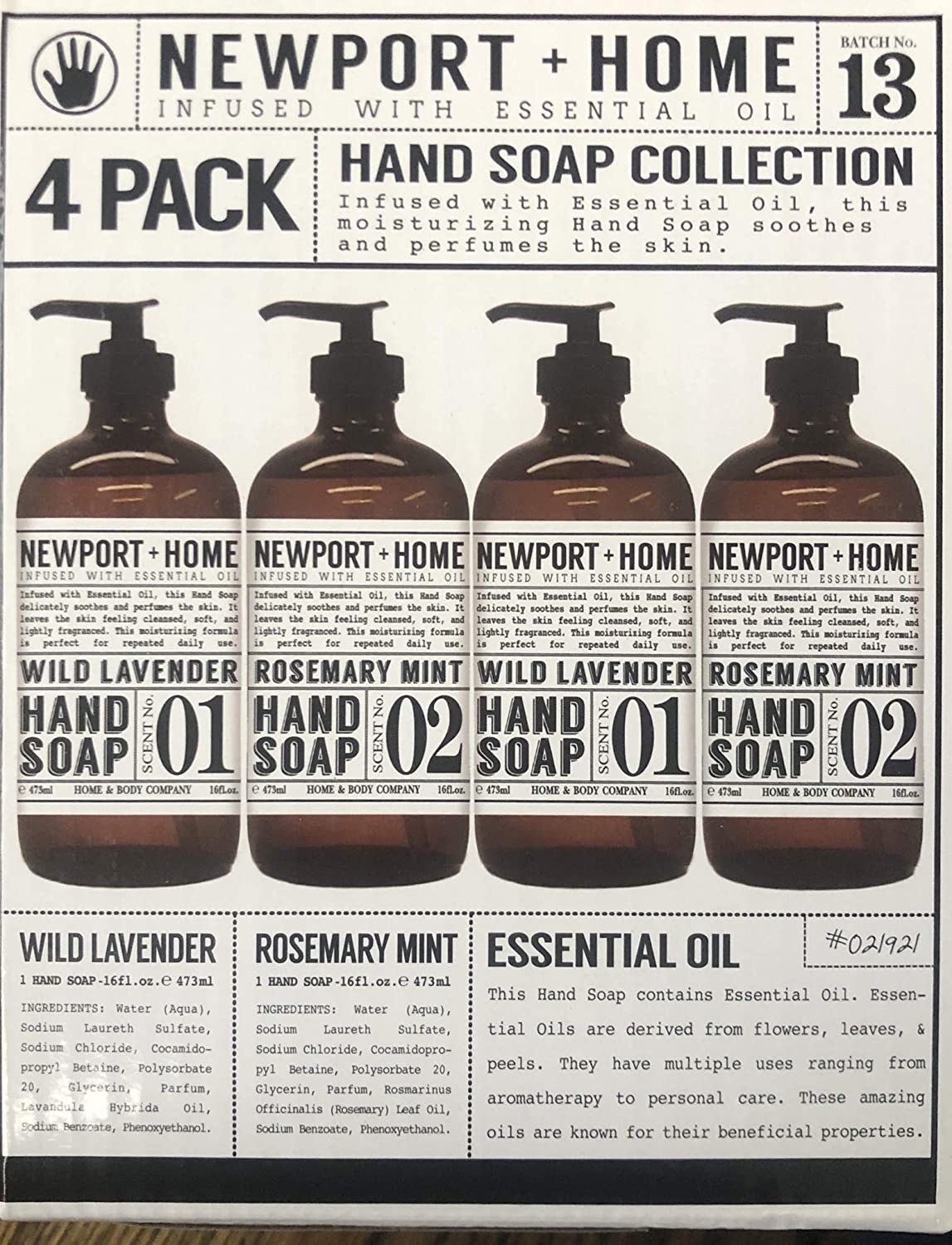 4 Bottles, Newport + Home Hand Soap, 2 Rosemary Mint, 2 Wild Lavender 16oz, Infused with Essential Oil, By Home & Body Co