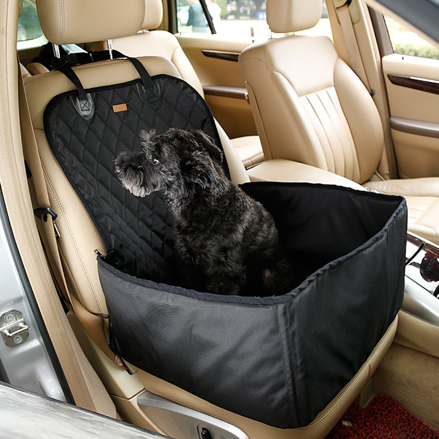Black OSPet Waterproof Dog Safe Seat Multi-Function Pet Front Seat Cover, Perfect for Small and Medium Pets