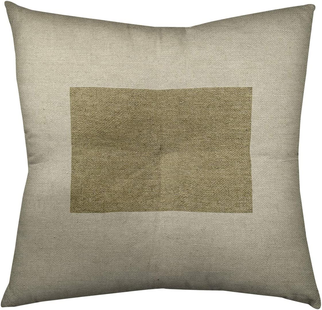 Updated Fabric ArtVerse Katelyn Smith Wyoming Outline 14 x 14 Pillow-Faux Linen Double Sided Print with Concealed Zipper /& Insert
