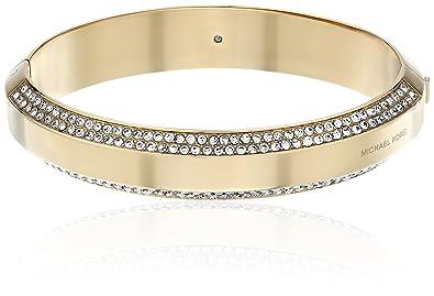 ff3e4303c8408 Amazon.com  Michael Kors Pave Logo Hinged Gold Tone Bangle Bracelet  Jewelry