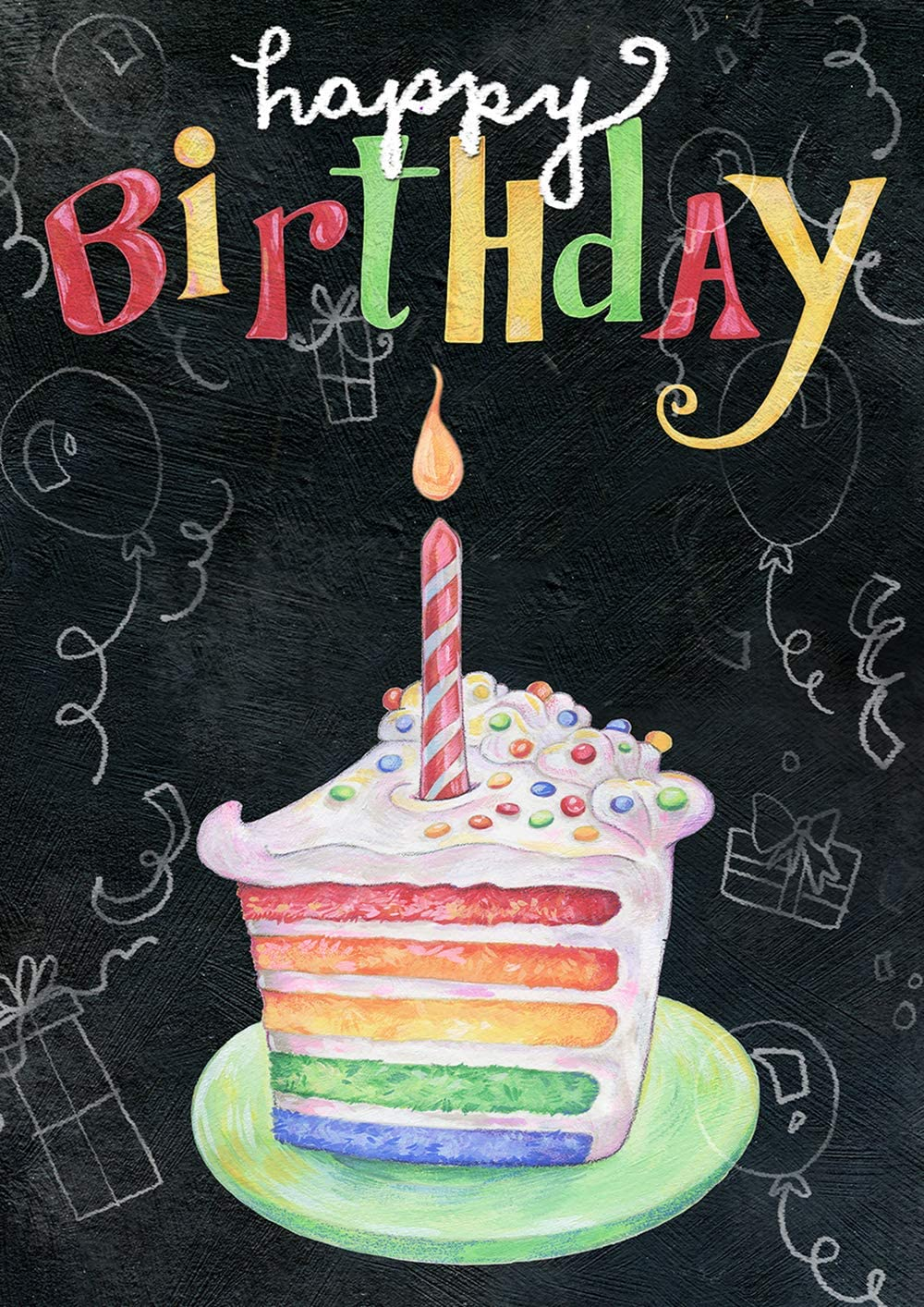 Toland Home Garden 1112277 Rainbow Cake Birthday 12.5 x 18 Inch Decorative, Happy Chalkboard Celebration, Double Sided Garden Flag