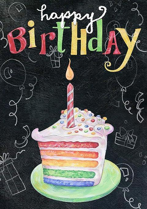 Fabulous Amazon Com Toland Home Garden 1012277 Rainbow Cake Birthday 28 X Funny Birthday Cards Online Aboleapandamsfinfo