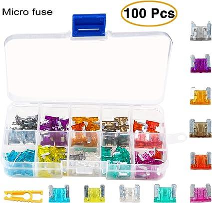 Kit de fusibles de repuesto para coche de TKING, 100 unidades, 2 A, 3 A, 5