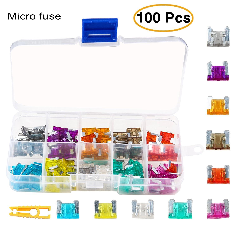 Kit de fusibles de repuesto para coche de TKING, 100 unidades, 2 A, 3 A, 5 A, 7,5 A, 10 A, 15 A, 20 A, 25 A, 30 A y 35 A, con 1 extractor de fusibles, 1 caja de transporte