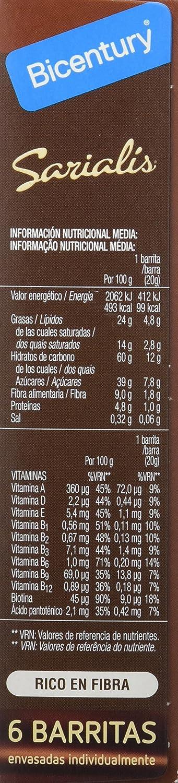 Bicentury Sarialis, Barritas de Cereales y Chocolate Negro ...