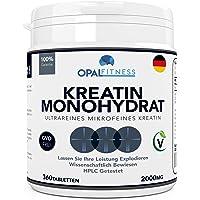 Creatin Monohydrat Tabletten | Ultrareine mikronisierte Kreatin Tabletten | Wissenschaftlich bewiesene Verbesserung von Kraft, Leistung und Muskelmasse | HPLC getestete Kreatintabletten | OPAL Fitness