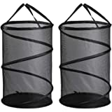 Collapsible Mesh Laundry Basket, GANAMODA Spiral Pop-up Hamper for Laundry, Dorm, Home - Thicken to Avert Fissuration, Reinfo