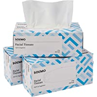 Amazon Brand - Solimo 2 Ply Facial Tissues Carton Box - 200 Pulls (Pack of 3)
