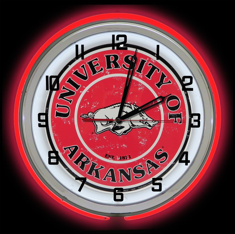 Arkansas University Razorbacks 18'' Red Neon Garage Clock from Redeye Laserworks by Redeye Laserworks (Image #2)